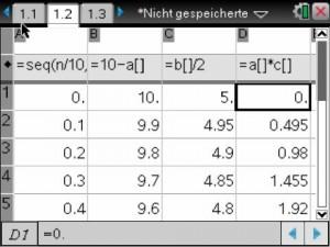 Tabelle Dezimalzahl