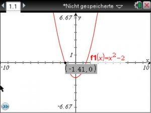 Die Nullstelle wird nun als Punkt markiert und man kann den nebenstehenden Wert ablesen.