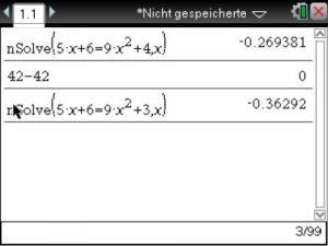Dieser Menüpunkt ist zu wählen, insofern die Wurzeln einder quadratischen (oder höheren Grades) Gleichung bestimmt werden sollen.